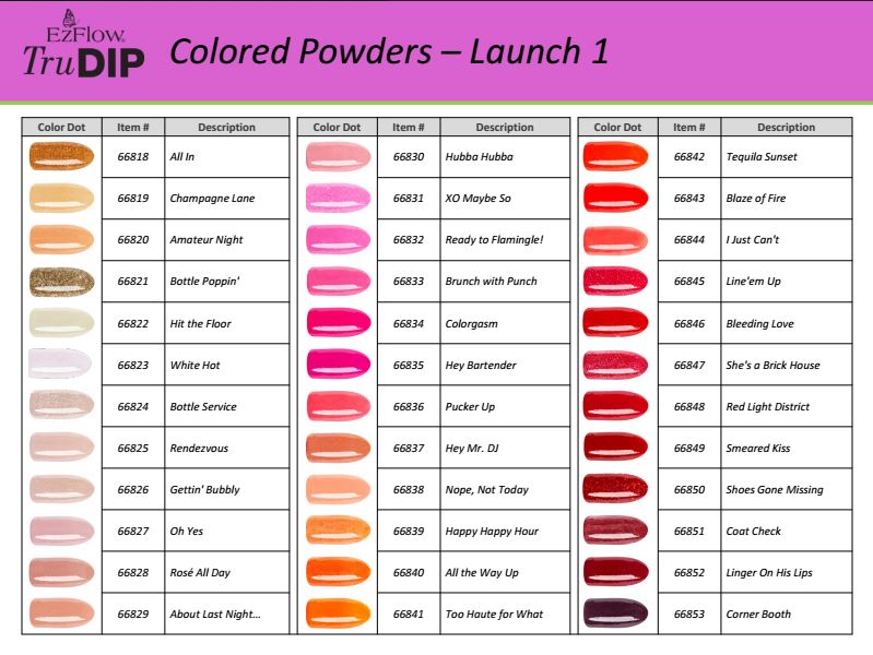 EzFlow TruDIP color powder shade chart