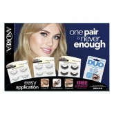 Andrea Lashes with Adhesive, 16 Piece Display