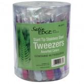 Satin Edge Slant Tip Stainless Steel Tweezers, 48 Piece Container